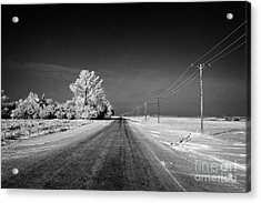salt and grit covered rural small road in Forget Saskatchewan Canada Acrylic Print by Joe Fox