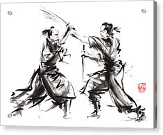 Samurai Sword Bushido Katana Martial Arts Budo Sumi-e Original Ink Sword Painting Artwork Acrylic Print by Mariusz Szmerdt