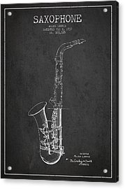Saxophone Patent Drawing From 1937 - Dark Acrylic Print by Aged Pixel