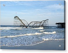 Seaside Heights - Jet Star Roller Coaster In Ocean Acrylic Print by Niday Picture Library