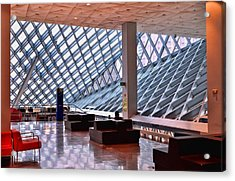 Seattle Library Reading Room 2 Acrylic Print by Allen Beatty