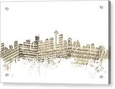 Seattle Washington Skyline Sheet Music Cityscape Acrylic Print by Michael Tompsett