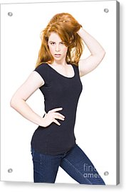 Sexy Fashion Model Playing With Red Hair Acrylic Print by Jorgo Photography - Wall Art Gallery