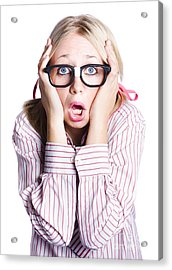 Shocked Business Woman On White Acrylic Print by Jorgo Photography - Wall Art Gallery