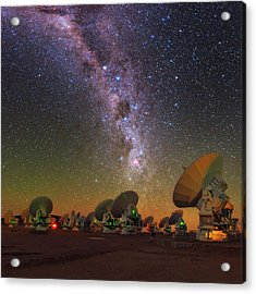 Sky Above Alma Radio Telescope Acrylic Print by Babak Tafreshi