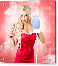Smoking Hot Blond Cleaning Woman With Red Hot Iron Acrylic Print by Jorgo Photography - Wall Art Gallery