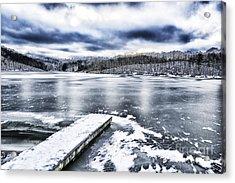 Snow Big Ditch Lake Acrylic Print by Thomas R Fletcher