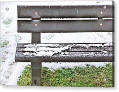 Snow On Bench Acrylic Print by Tom Gowanlock