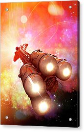 Space Craft In Outer Space Acrylic Print by Victor Habbick Visions