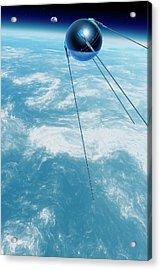Sputnik 1 In Orbit Acrylic Print by Detlev Van Ravenswaay