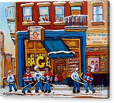 St. Viateur Bagel With Hockey Acrylic Print by Carole Spandau