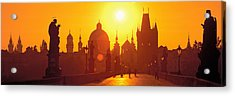 Statues Along A Bridge, Charles Bridge Acrylic Print by Panoramic Images