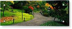 Stone Bridge, The Japanese Garden Acrylic Print by Panoramic Images