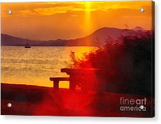 Sunrise In The Balaton Lake Acrylic Print by Odon Czintos