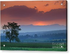 Sunset Over Mt. Mansfield In Stowe Vermont Acrylic Print by Don Landwehrle