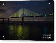 Sunshine Skyway Bridge Tampa Florida Acrylic Print by Rene Triay Photography