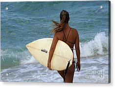 Surfer Girl Acrylic Print by Bob Christopher