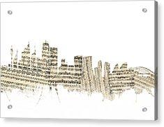 Sydney Australia Skyline Sheet Music Cityscape Acrylic Print by Michael Tompsett