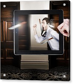 Tablet Display Playing Funny Interactive Movie Acrylic Print by Jorgo Photography - Wall Art Gallery