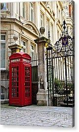 Telephone Box In London Acrylic Print by Elena Elisseeva