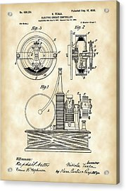 Tesla Electric Circuit Controller Patent 1897 - Vintage Acrylic Print by Stephen Younts
