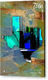 Texas State Map Watercolor Acrylic Print by Marvin Blaine