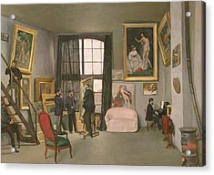 The Artist's Studio Acrylic Print by Jean Frederic Bazille
