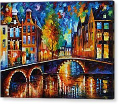 The Bridges Of Amsterdam Acrylic Print by Leonid Afremov