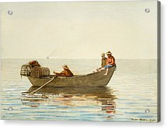 Three Boys In A Dory With Lobster Pots Acrylic Print by Winslow Homer