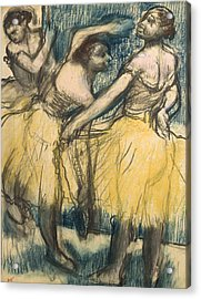 Three Dancers In Yellow Skirts Acrylic Print by Edgar Degas
