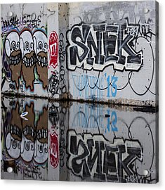 Three Skulls Graffiti Acrylic Print by Carol Leigh
