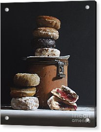 Tin With Donuts Acrylic Print by Larry Preston