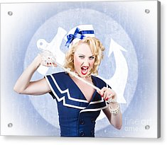 Tough Pin-up Sailor Breaking Rope. Navy Seal Acrylic Print by Jorgo Photography - Wall Art Gallery