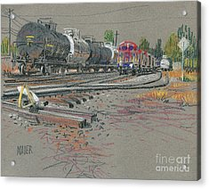 Train's Coming Acrylic Print by Donald Maier