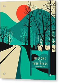 Twin Peaks Travel Poster Acrylic Print by Jazzberry Blue