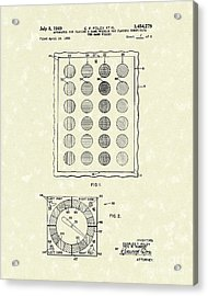 Game 1969 Patent Art Acrylic Print by Prior Art Design