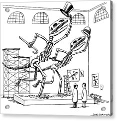 Two Dinosaur Skeletons At A Museum Appear Acrylic Print by Joe Dator