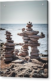 Two Stacked Stone Cairns Acrylic Print by Elena Elisseeva