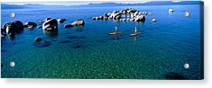 Two Women Paddle Boarding In A Lake Acrylic Print by Panoramic Images