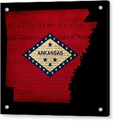 Usa American Arkansas State Map Outline With Grunge Effect Flag  Acrylic Print by Matthew Gibson