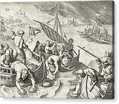 Using Sponges To Collect Naphtha From The Surface Of The Waves Acrylic Print by Jan Van Der Straet