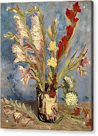 Vase With Gladioli And China Asters Acrylic Print by Mountain Dreams