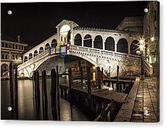 Venice Rialto Bridge At Night  Acrylic Print by Melanie Viola
