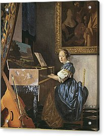 Vermeer, Johannes 1632-1675. A Young Acrylic Print by Everett