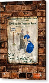 Victorian Sign Acrylic Print by Adrian Evans