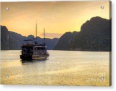 Vietnamese Junks On Halong Bay Vietnam Acrylic Print by Fototrav Print