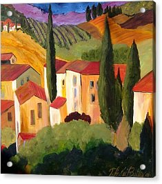 Villas Of Tuscany  Acrylic Print by Therese Fowler-Bailey