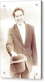 Vintage Business Man Greeting With Hat Off Acrylic Print by Jorgo Photography - Wall Art Gallery