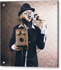 Vintage Businessman Listening To Conscience Acrylic Print by Jorgo Photography - Wall Art Gallery