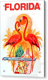Vintage Florida Travel Poster Acrylic Print by Jon Neidert
